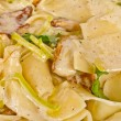 Pasta with mushrooms and parmesan cheese — Stock Photo