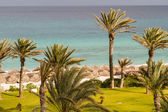 Scene at mediterranean beach resort in Tunisia. — Stock Photo