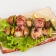 Bacon wrapped grilled Scallops with mushrooms and bacon — Стоковое фото