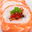 Japanese sushi traditional japanese food.Roll made of salmon, re — Foto de Stock