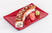 Japanese traditional Cuisine - Maki Roll with Cucumber , Cream C — Stock Photo
