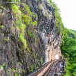 Stock Photo: Railway on mountain and river in Thailand