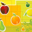 Stock Vector: Fruits icon set. on colorful background