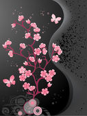 Blossoming cherry tree, black background — Stock Vector