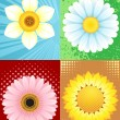 Stock Vector: Four flowers in the set