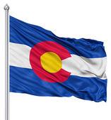 挥舞着国旗的美国州科罗拉多州 — 图库照片