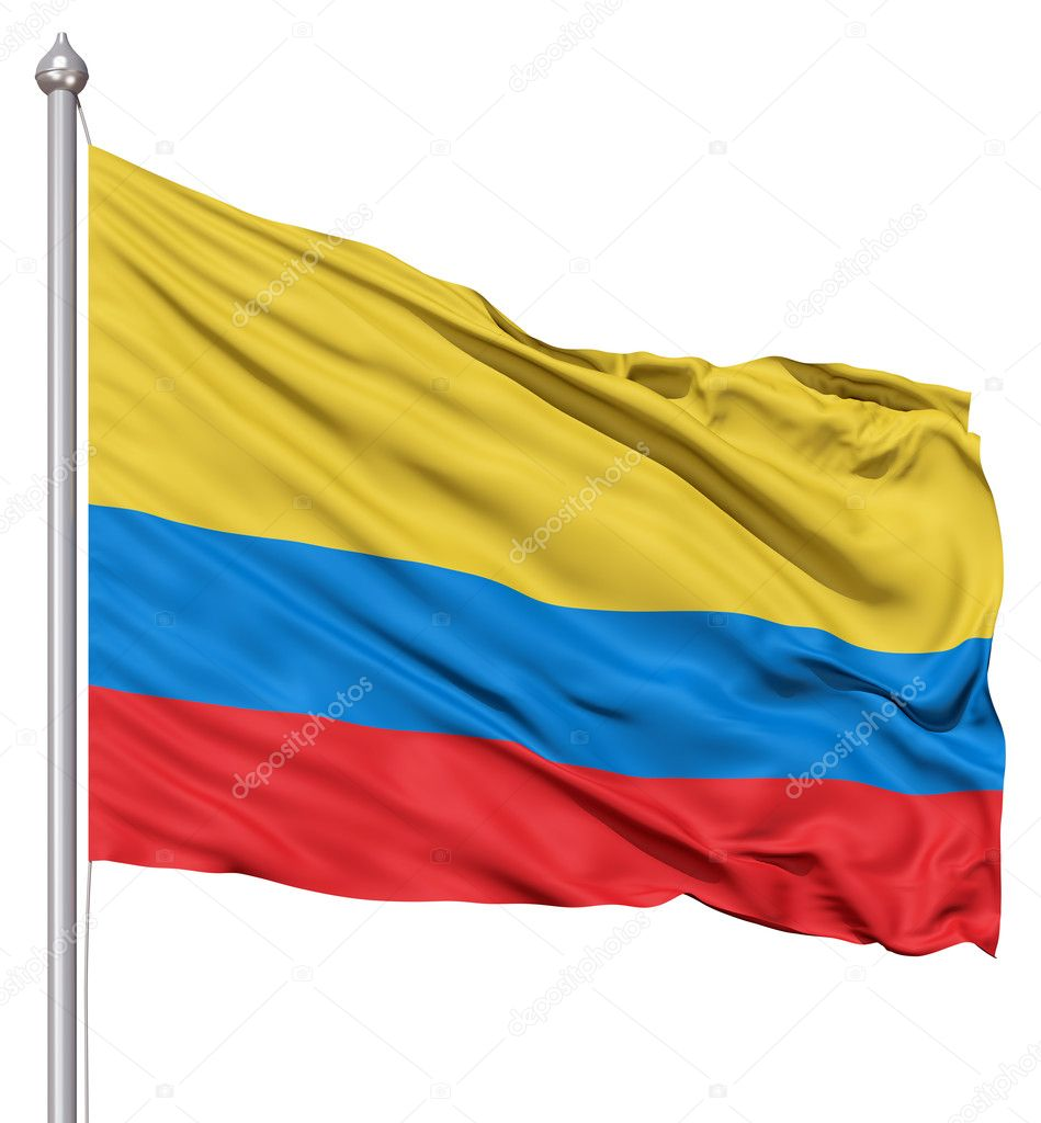 Realistic 3d flag of Colombia fluttering in the wind. — Stock Photo #10057658