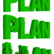 Cracking and crumbling of the word Plan - Stock Photo