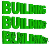 Crumbling and destruction of the word Building — Stock Photo
