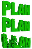 Cracking and crumbling of the word Plan — Stock Photo