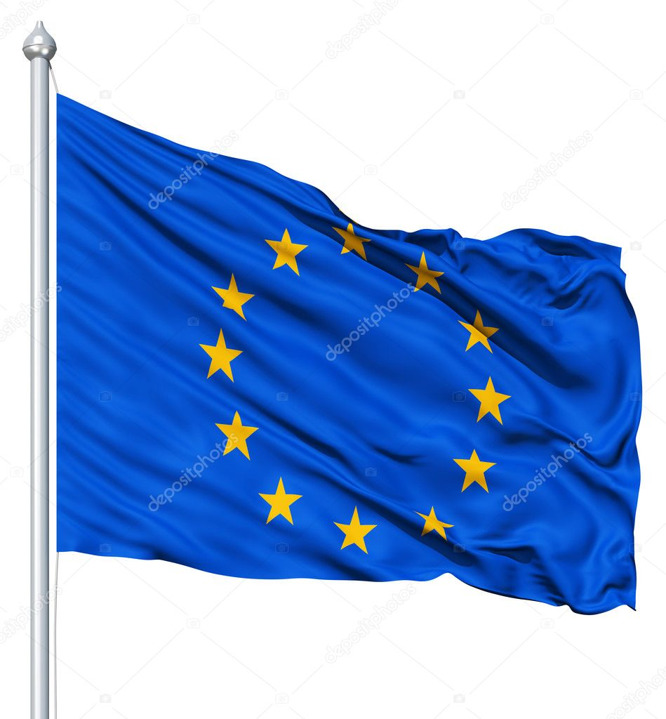 Europe flag waving in the wind — Stock Photo #9793616