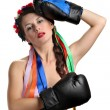 Topless girl with boxing gloves — Stock Photo