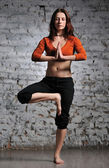 Woman doing yoga excercise — Stockfoto