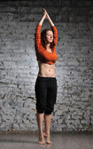 Woman doing yoga excercise — Stock Photo