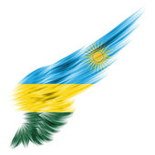 Rwanda flag on Abstract wing with white background — Stock Photo