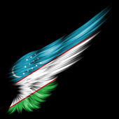 Flag of Uzbekistan on Abstract wing with black background — Stock Photo