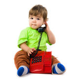Little boy with the phon — Stock Photo
