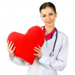 Doctor taking care of red heart symbo — Stock Photo #8357951