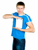 Young men show blank — Stock Photo