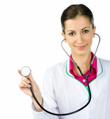 Smiling medical doctor woman with stethoscope — Foto de Stock