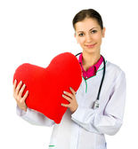 Médecin en prenant soin de symbo coeur rouge — Photo