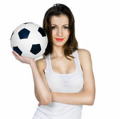 Young adult woman with ball — Stock Photo