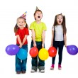 Kids in birthday caps — Stock Photo