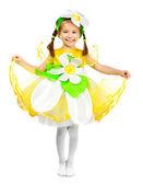 Malá holčička v kostýmu heřmánek — Stock fotografie