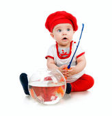 Cute little baby fishing — Stock Photo