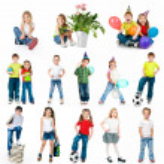 Set of a kids photos — Stock Photo