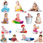 Collection baby photos — Stock Photo