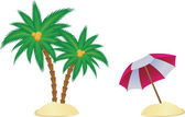 Palm and parasol — Stock Vector