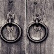 Stock Photo: Ancient wooden gate with door knocker rings