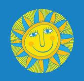 Abstract smiling sun — Stock Vector