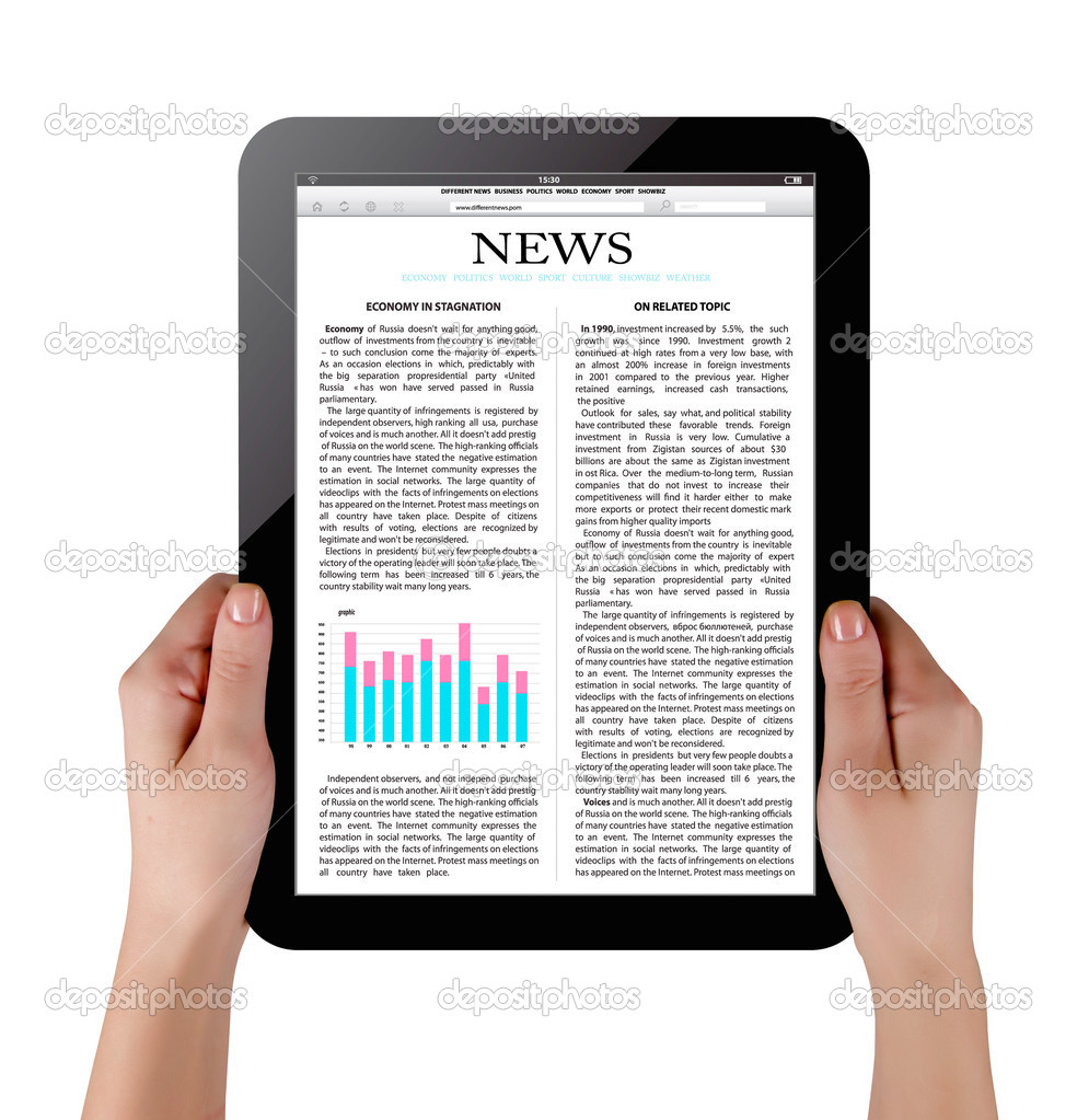 Hands holding touch screen tablet pc with business article — Stock Photo #8201971