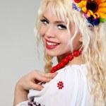 Woman wears Ukrainian national dress — Stock Photo #10545090