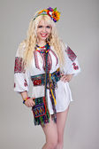 Woman wears Ukrainian national dress — Stok fotoğraf