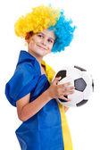 与乌克兰国旗在白色背景上的足球迷 — 图库照片