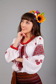 Attractive woman wears Ukrainian national dress — Stock Photo