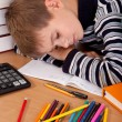 Tired schoolboy - Foto Stock