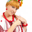 Attractive woman wears Ukrainian national dress — Stock fotografie