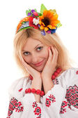 Woman wears Ukrainian national dress — ストック写真
