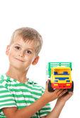 Chlapec s hračkou — Stock fotografie
