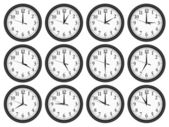 Wall clocks set on white background. — Vector de stock