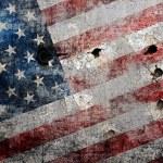 Holed grungy American flag background. — Stock Photo #10378636
