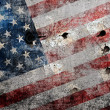 Stock Photo: Holed grungy Americflag background.