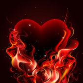 Hořící srdce. — Stock vektor