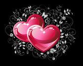 çift kırmızı kalpler. — Stok Vektör