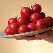 Plate with fresh tomatoes — Stock fotografie
