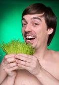 Organic food admirer — Stock Photo